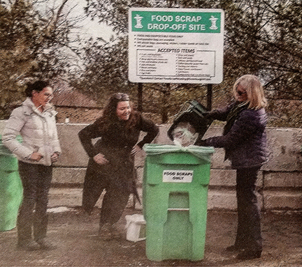 Three women participating in a recycling program